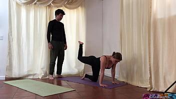 Blonde yoga student rides teachers dick - Erin Electra