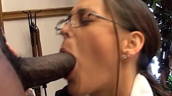 Black Bad Boy Licking A White Shaft