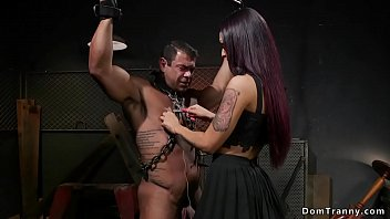 Watch Chained muscled man_gets blowjob from_brunette sexy dom shemale preview