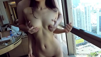 Asian beauty shags on camera in doggy style