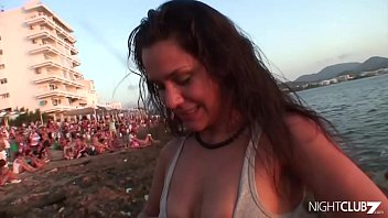 Samia Duarte flashing her tits in a public beach before fucks on a boat near the shore