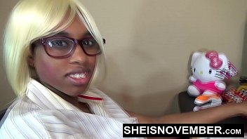 hd submissive black nerd assistant msnovember on her first day of work sucking manager dick in office to keep job and flashing pussy amp ass sheisnovember