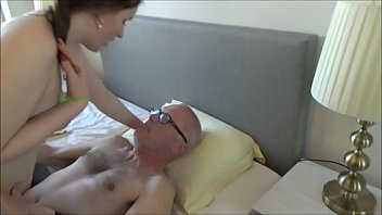 Grandpa and his young whore, shamelessly kiss, suck, lick & fuck!