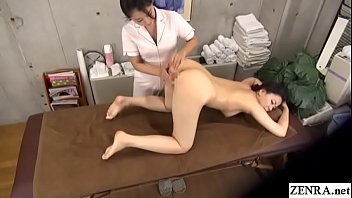 Japanese massage clinic special first time lesbian course featuring clothed masseuse fingering and eating out her stark naked milf client followed by machine stimulation with English subtitles Thumbnail