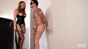 Latex domina Stacey Saran spanks & fucks submissive guy's big hard veiny cock