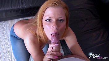 Redhead sucking cum from cock