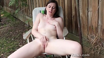 Small boobed amateur babe from Yanks Taliah Mac masturbating her pussy outdoors to orgasm
