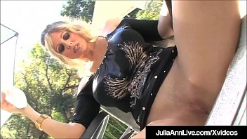 Watch Busty Mature Babes Julia Ann & Lisa Ann pour oil all over their smoking hot bodies & then fuck the living daylights out of two very horny cocks! preview