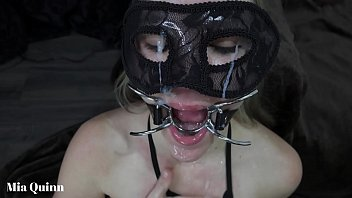 Spider gag facefuck bdsm spit drool cum eyes face and piss face drinking