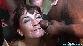 Sexy British slut Adreena Winters takes sticky bukkake facials