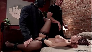 Big tits redhead Milf housewife is tirmented by master in the kitchen then fucked by his big dick slave trainer