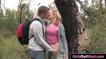 Horny blonde girlfriend Roxy drilled in the bush