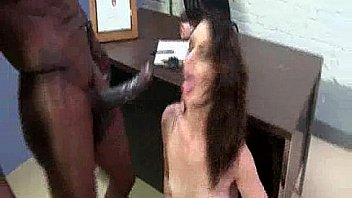 Brunette Split By Big Black Cock