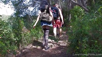 Jorge of the Jungle fucking a skinny brunette in the woods