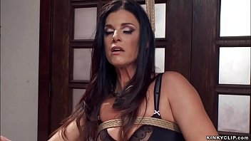 Hot brunette Milf slave trainee India Summer in black sexy lingerie made by master James Mogul sucking huge cock to gimp leather slave Owen Gray while he is anal toying her