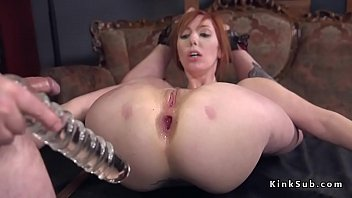 Tied up huge tits redhead Lauren Phillips with hose over her head dominated in garage