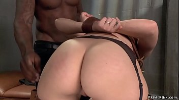 Bent over and strapped hot brunette doctor Gabriella Paltrova gets throat fucked by big black cock prisoner Rob Piper then pussy vibed in Psycho Ward