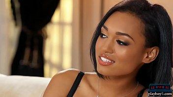 Ebony MILF model gives multiple stripteases for Playboy