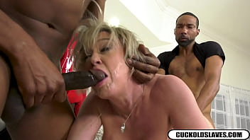 Nasty mature blonde whore wife sucking and fucking 3 black monsters