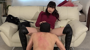 Exclusive slaves licking and cleaning dominatrix Akane's boots