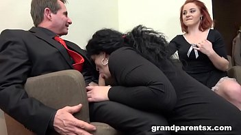Redhead Maid Dusts Old Couple