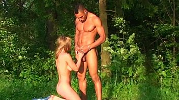 Foursome of sexy students fucking on the forest glade