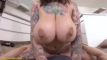 extreme tattooed big natural breast chubby babe sabien demonia gives me a rough pov fuck experience