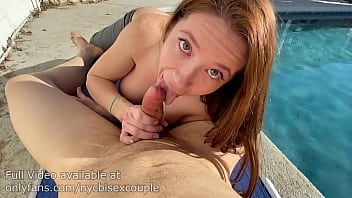 bianca burke sucks cock at the pool