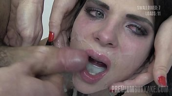 Watch Gorgeous brunette with big boobs gets covered with 38 facial cum loads and eventually swallows them all from a cum bowl preview