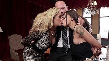 Old master torments nipples to blonde Milf slave than has bdsm threesome