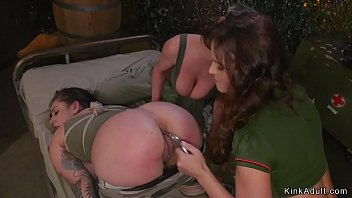 lesbian milf commanders spanking big ass tied up soldier and toying her asshole