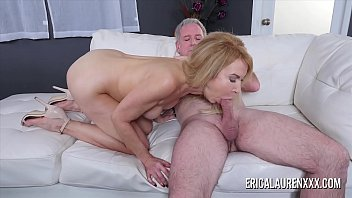 Busty blonde mature sucking a big dick until he fills her mouth with cum