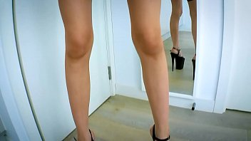 Teasing him in the mirror with my kinky outfit and wet pussy get squirted