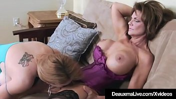 Beautiful Busty Cougars Deauxma & Charlee Chase are having some amazing lesbian sex, fondling, kissing & licking each other when Charlee's husband walks in & gets a double blowjob from the sexy mature ladies! What a lucky SOB!