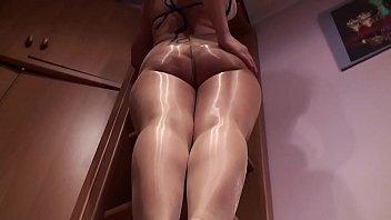 shiny pantyhose leg Tease