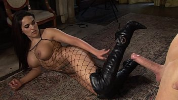 Hot British babe Valery banged in leather boots