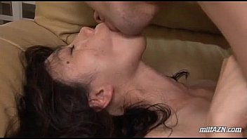 Milf With Hairy Pussy Riding On Young Guy Face And Cock Facial On The Couch In T