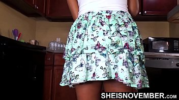 HD Attractive Hottie UpSkirt White Undies Deep Inside Her Cute Booty Clean Dishes , Petite Tiny Black Babe Msnovember Panty In Ass Cheeks Walking Around Kitchen HD On Sheisnovember Amazing Bubble Butt Close Up Jiggling