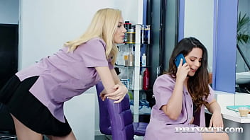 Ariana Van X & Paola Hard spice things up at work with incredible deepthroat, tit fucking & pussy pounding action that gets their pretty faces covered in cum! Full Flick & 1000s More at Private.com!