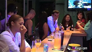 Tania's drilled by two hunks in the middle of a bar and everyone is seeing it