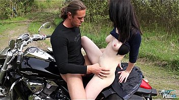 Outdoors pussy drill for teen motorcycle rider