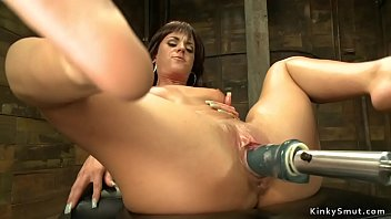 Busty tanned stunning brunette babe gets huge dick machine in wet pussy then fucks other machines and orgasm after orgasm