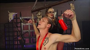 Submissive Zane Anders conjuring Sadistic mistress with big tits Bella Rossi in sexy red devilish lingerie and then she binding and fucking him