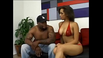 Busty black babe sucks ebony cock then takes warm cum into her twat