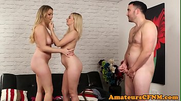 Classy CFNM babes tease submissive guy
