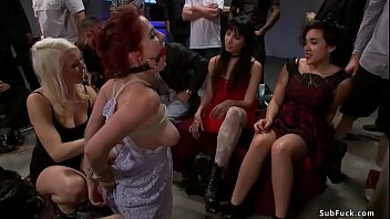 Gagged busty redhead slave Penny Pax in bondage is made by domme Lorelei Lee anal fuck and gangbang with huge dick Karlo Karrera at public place