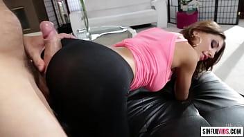 August Ames torn leggings cum covered by Ramon Nomar