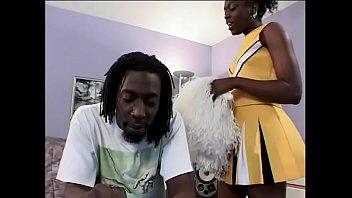 Ebony cheerleader Swiss Moca gets dick and mouth creamed