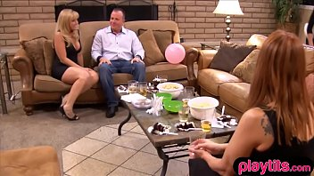 Amateur wife gets a girl for a threesome as a bday present