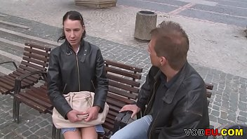 Small titted brunette german mature gets picked up public
